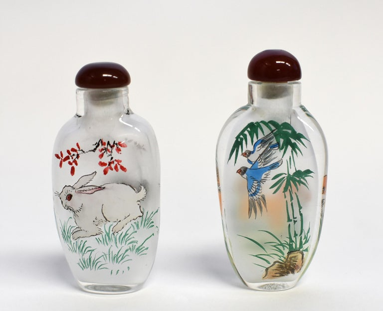 Set of Three Eglomise Reverse Painted Snuff Bottles with Zodiac Animals For Sale 7