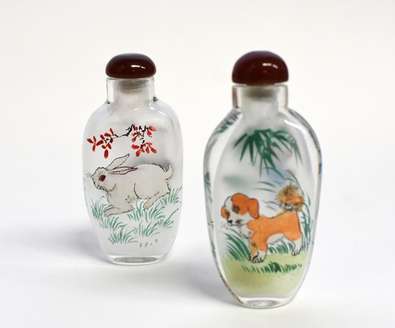 Set of Three Eglomise Reverse Painted Snuff Bottles with Zodiac Animals For Sale 8