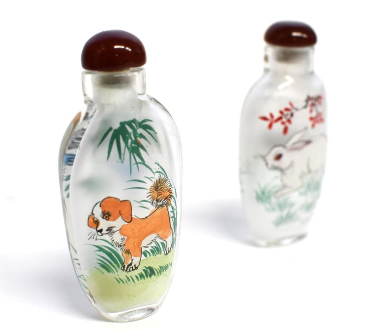 Set of Three Eglomise Reverse Painted Snuff Bottles with Zodiac Animals For Sale 10