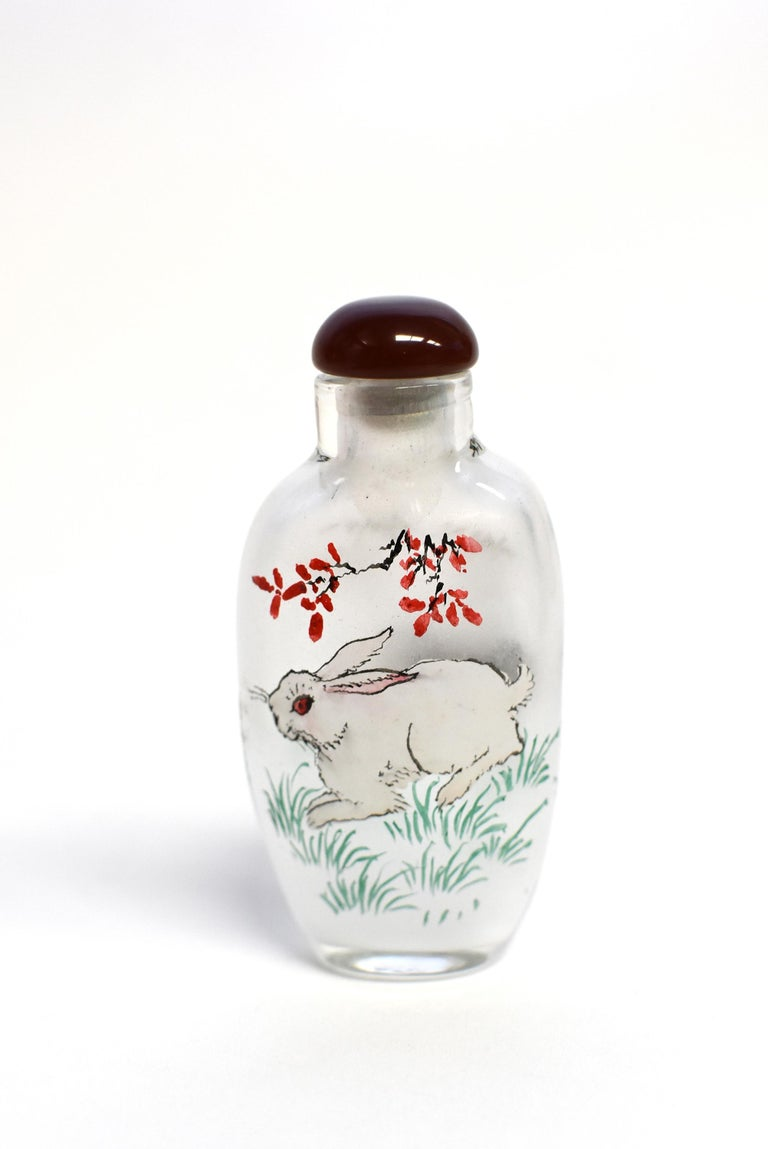 Chinese Set of Three Eglomise Reverse Painted Snuff Bottles with Zodiac Animals For Sale