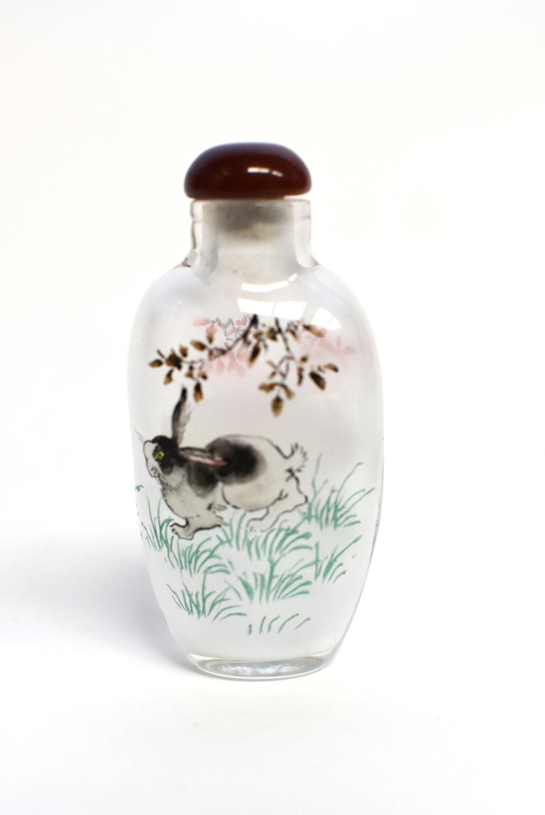 Set of Three Eglomise Reverse Painted Snuff Bottles with Zodiac Animals In New Condition For Sale In Somis, CA