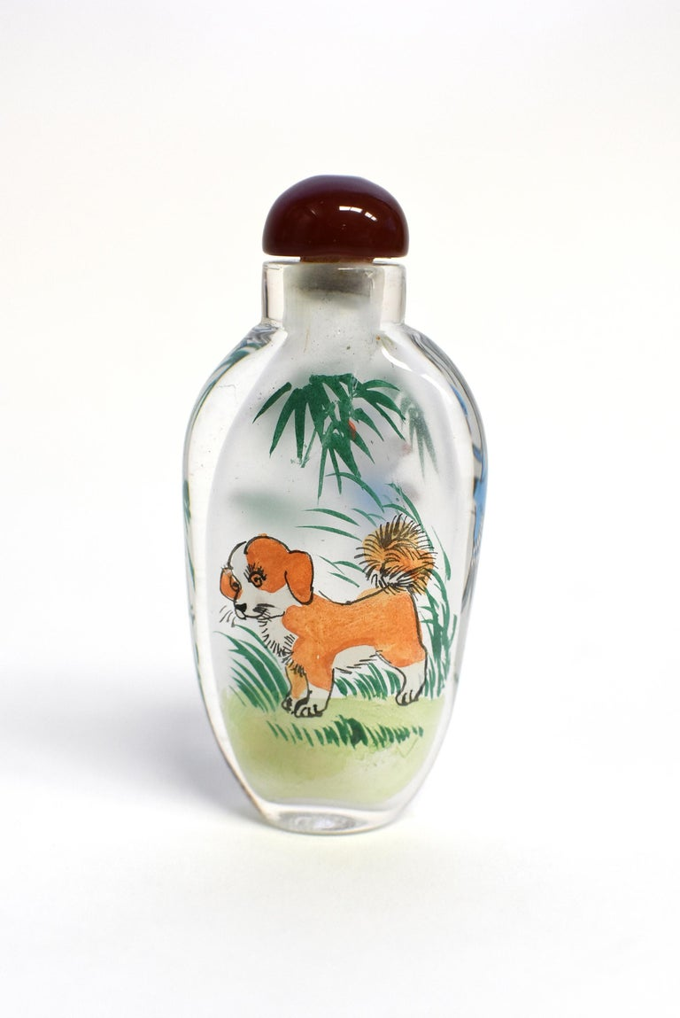 Contemporary Set of Three Eglomise Reverse Painted Snuff Bottles with Zodiac Animals For Sale