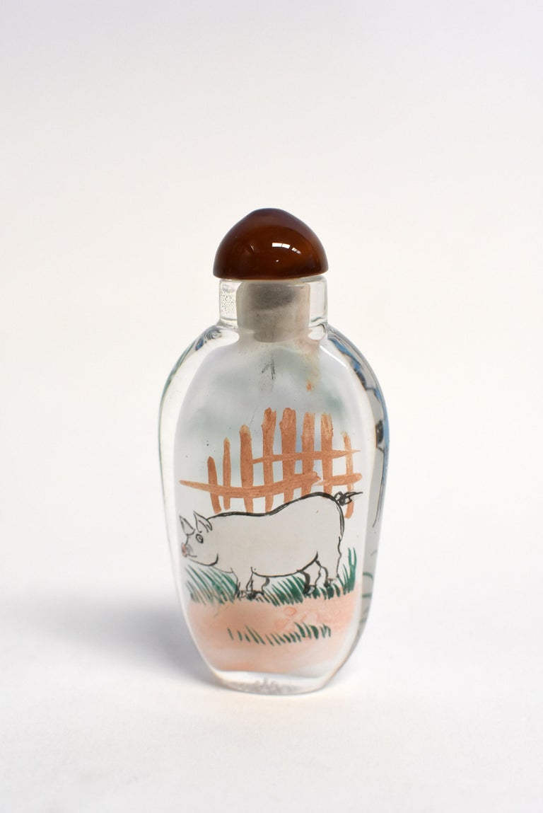 Set of Three Eglomise Reverse Painted Snuff Bottles with Zodiac Animals For Sale 1