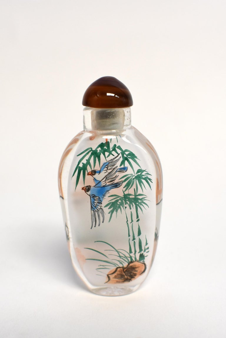 Set of Three Eglomise Reverse Painted Snuff Bottles with Zodiac Animals For Sale 2
