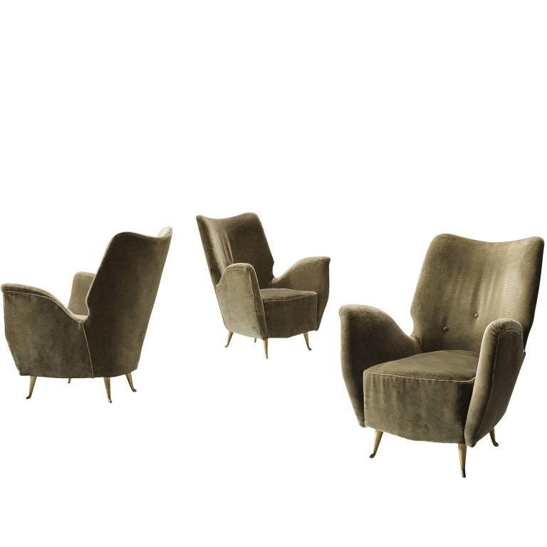 Set of Three Elegant Wingback Chairs for ISA in Original Green Velvet