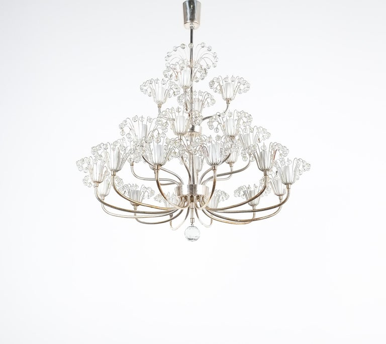 Mid-Century Modern Set of Three Emil Stejnar Chandeliers Silver Glass, Austria For Sale