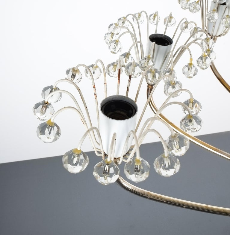 Mid-20th Century Set of Three Emil Stejnar Chandeliers Silver Glass, Austria For Sale