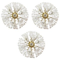 Set of Three Emil Stejnar Sputnik Flush Mount Lights, Brass Crystal Glass, 1950s
