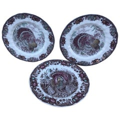 Set of Three English Autumn Monarch Turkey Plates
