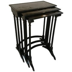 Set of Three English Chinoiserie Nesting Tables