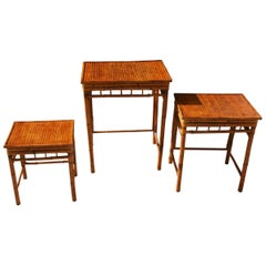 Set of Three English Colonial Burnt Bamboo Tables