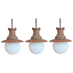 Set of Three English Copper Train Station Pendent Lights