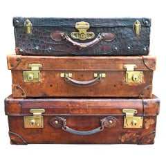Set of Three English Edwardian Leather Suitcases