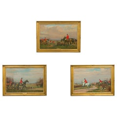 Set of Three English Framed Oil on Canvas Hunt Paintings by John Sanderson Wells