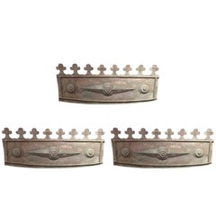 Set of Three English Metal Flower Box Fronts, 19th Century
