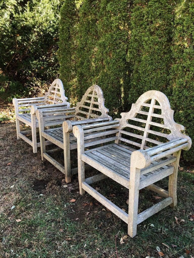 Set of Three English Weathered Lutyens-Style Chairs in Teak