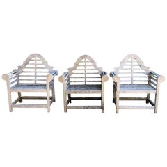 Set of Three English Weathered Lutyens-Style Chairs in Teak