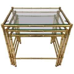 Set of Three Faux Bamboo Nesting or Stacking Tables with Glass Tops