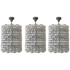 "Set of Three ""Festival"" Chandeliers by Gert Nyström for Orrefors, circa 1950s"
