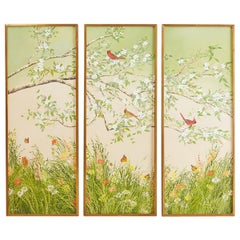 Set of Three Flora and Fauna Chinoiserie Triptych Panels