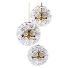 Set of Three Floral Brass and Glass Chandeliers in the Style of Emile Stejnar