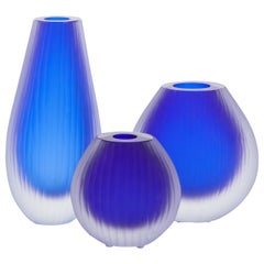 Set of Three Fluted Cobalt Blue Murano Glass Vases Signed by Alberto Donà