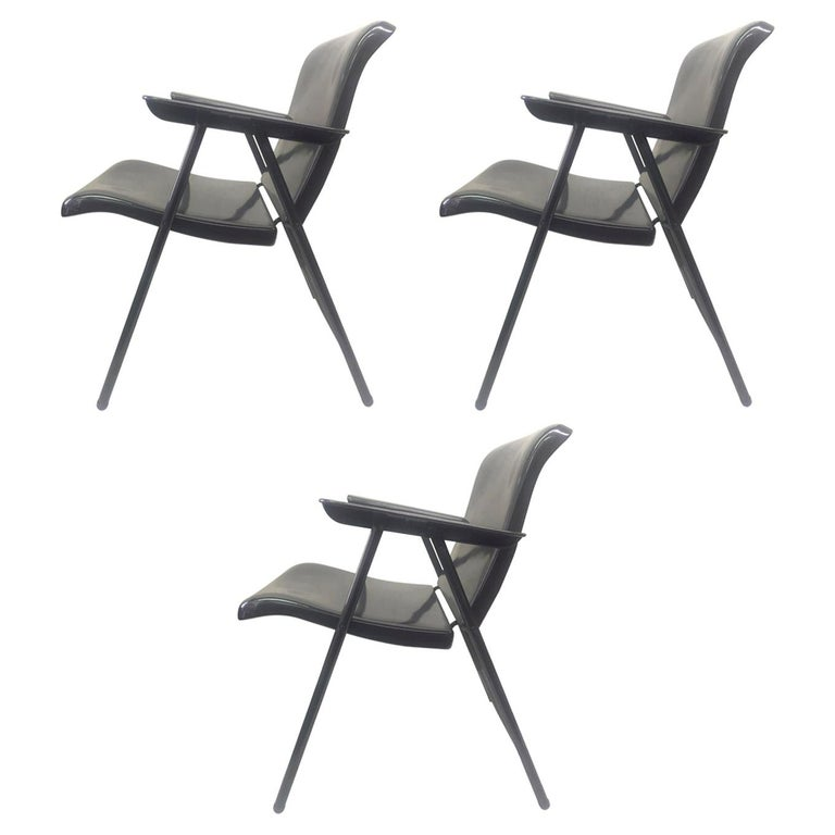 Set of Three Folding Metal Chairs by Russel Wright For Sale