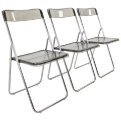 Set of Three Folding Midcentury Chairs from Sweden, 1970s