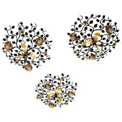 Set of Three Foliage Floral Light Fixtures in Black and Gilt Wrought Iron