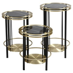 Set of Three Frame Side Tables in Brass, Steel and Thala Black Marble, Studio A