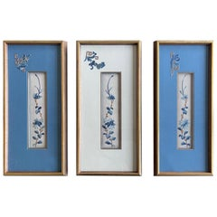 Set of Three-Framed Antique Chinese Textiles Qing Dynasty Provenance