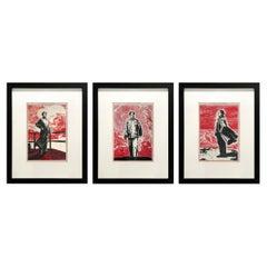 Set of Three Framed Mao Woodblock Prints