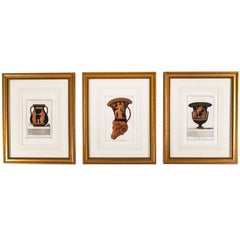 Set of Three Framed Prints Depicting Greek Apulian Red-Figure Pottery