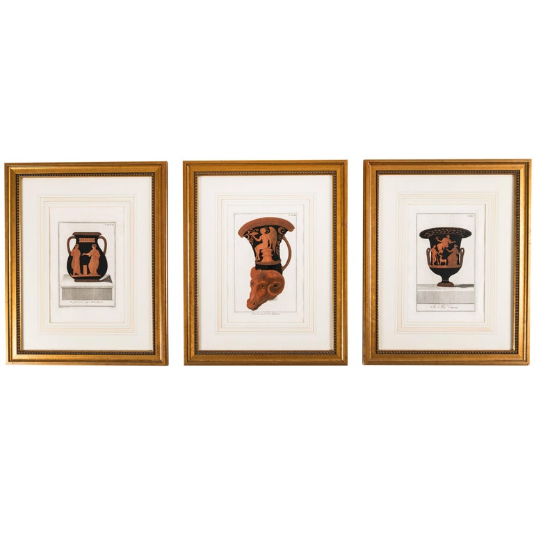 Set of Three Framed Prints Depicting Greek Apulian Red-Figure Pottery For Sale