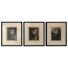 Set of Three Framed Vintage Portraits of a Mime