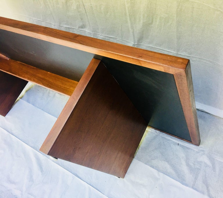 Set of Three, Frank Rohloff, 1960s, Walnut and Black Lacquer Mosaic Tables For Sale 3