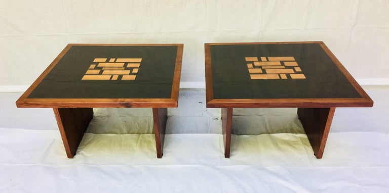 American Set of Three, Frank Rohloff, 1960s, Walnut and Black Lacquer Mosaic Tables For Sale