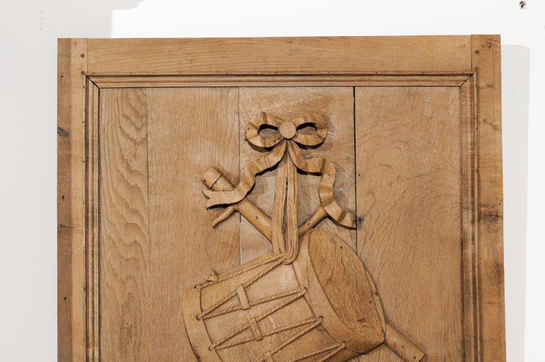Set of Three French 19th Century Carved Oak Panels with Musical Instruments For Sale 7