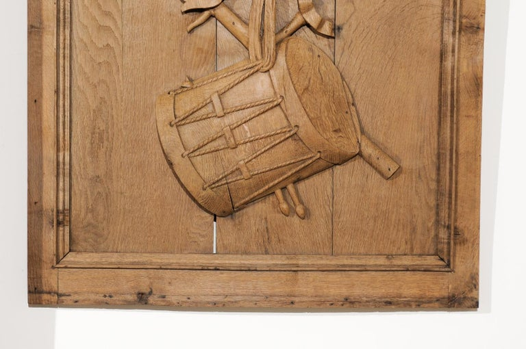 Set of Three French 19th Century Carved Oak Panels with Musical Instruments For Sale 8