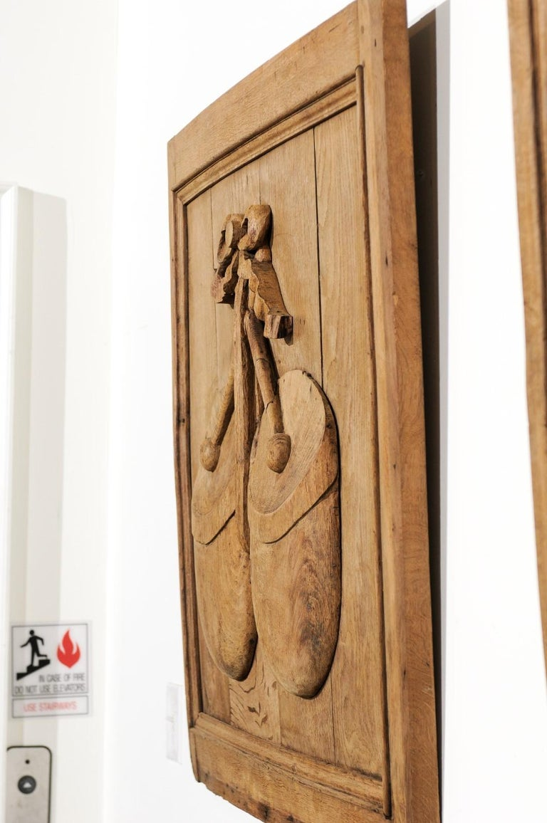 Set of Three French 19th Century Carved Oak Panels with Musical Instruments For Sale 9
