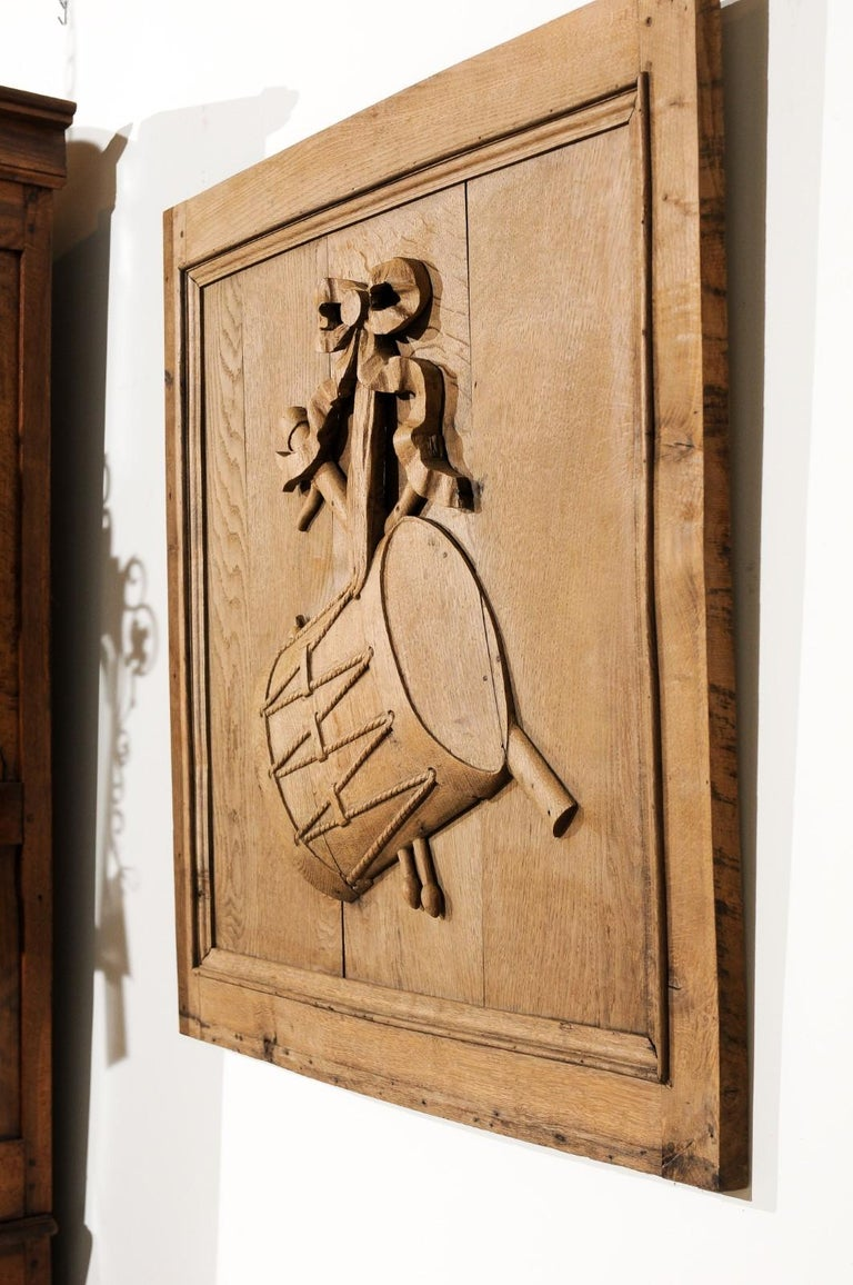 Set of Three French 19th Century Carved Oak Panels with Musical Instruments For Sale 11