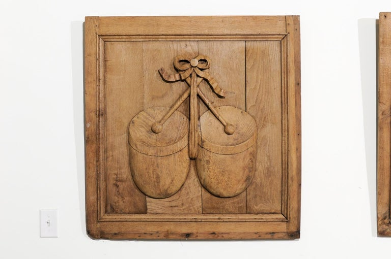 Set of Three French 19th Century Carved Oak Panels with Musical Instruments In Good Condition For Sale In Atlanta, GA