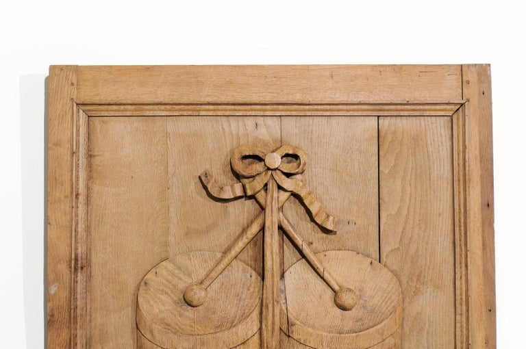 Set of Three French 19th Century Carved Oak Panels with Musical Instruments For Sale 1