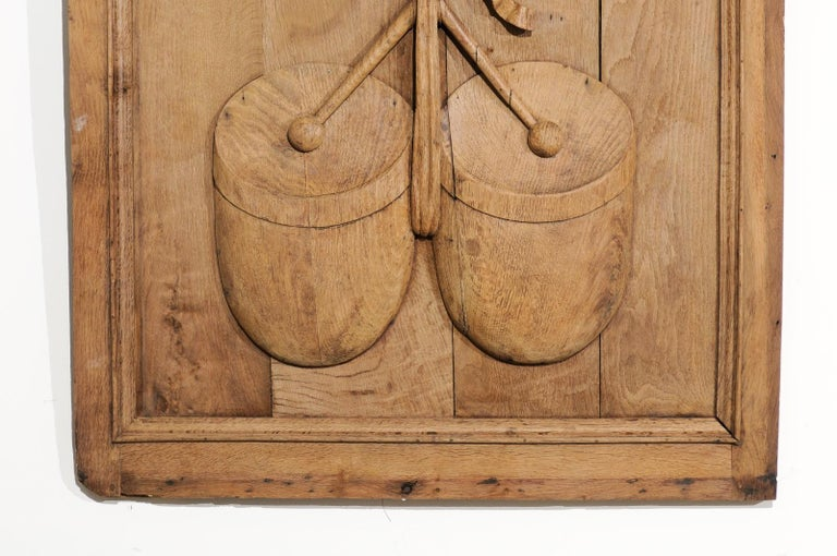 Set of Three French 19th Century Carved Oak Panels with Musical Instruments For Sale 2