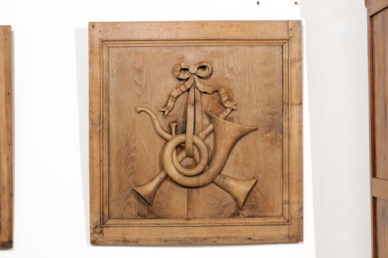 Set of Three French 19th Century Carved Oak Panels with Musical Instruments For Sale 3