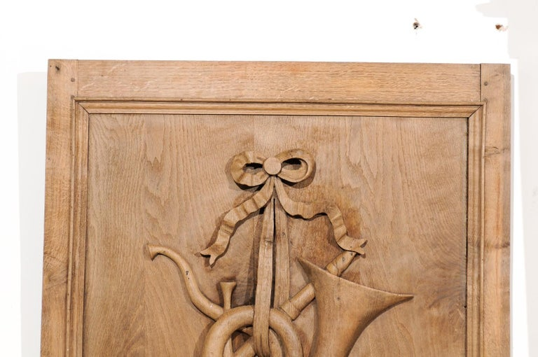 Set of Three French 19th Century Carved Oak Panels with Musical Instruments For Sale 4