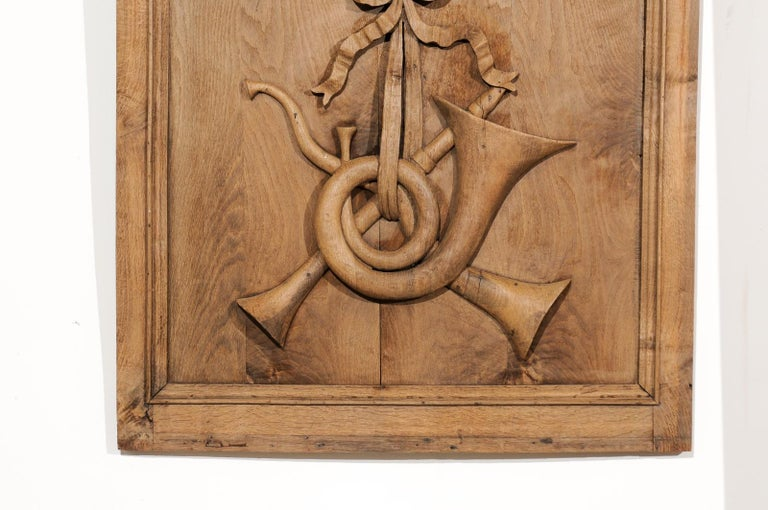 Set of Three French 19th Century Carved Oak Panels with Musical Instruments For Sale 5