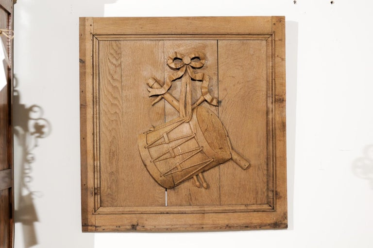 Set of Three French 19th Century Carved Oak Panels with Musical Instruments For Sale 6