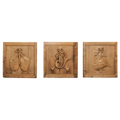 Set of Three French 19th Century Carved Oak Panels with Musical Instruments