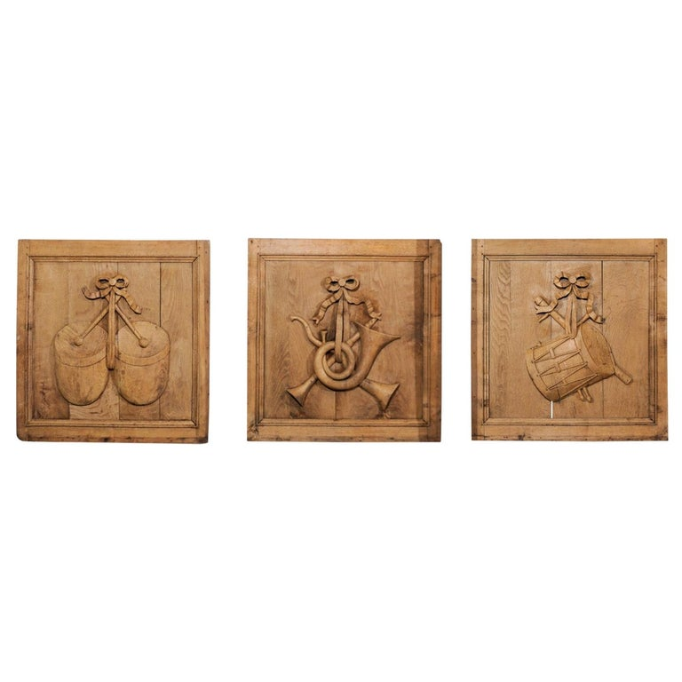 Set of Three French 19th Century Carved Oak Panels with Musical Instruments For Sale